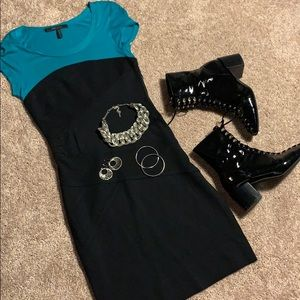 BCBG MAXAZRIA Teal and Black Bodycon Dress